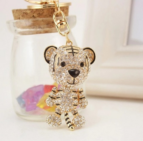 Cute Tiger Crystal Rhinestone Keychain -  New Fashion Finds By Carole