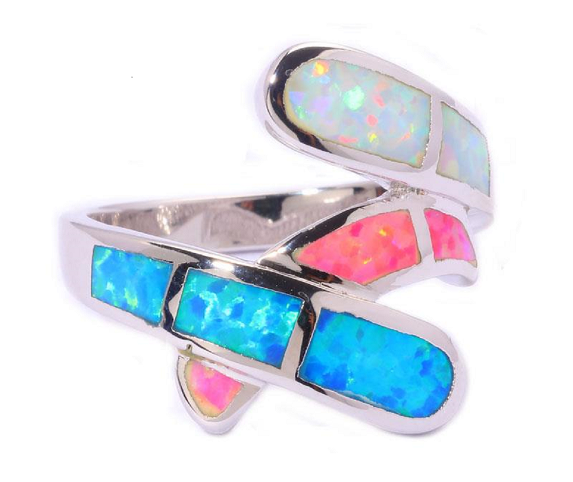 Twisted Taffy Lab Created Blue Pink White Fire Opal; Sterling Silver Plated Ring -  New Fashion Finds By Carole
