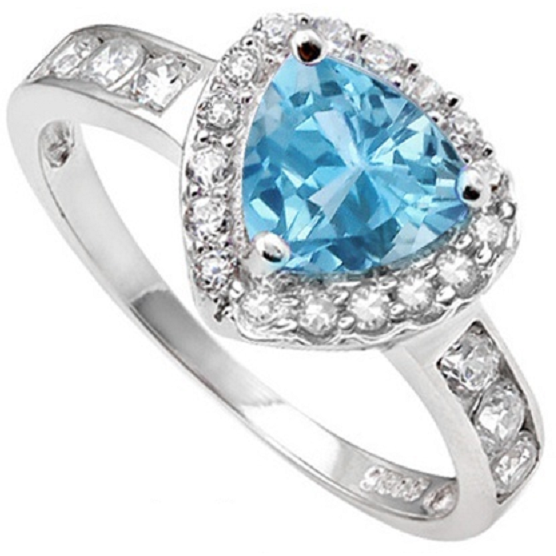 .925 Silver 2.11KT Blue Topaz and White Sapphire Ring. -  New Fashion Finds By Carole