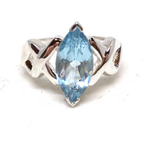 7.30ctw Genuine Blue Mystic Gemstone & White Sapphire, Solid .925 Sterling Silver Ring