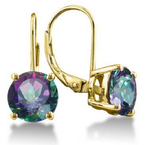 18K Gold Plated 2.00CTTW Genuine Mystic Quartz Leverback Earrings -  New Fashion Finds By Carole