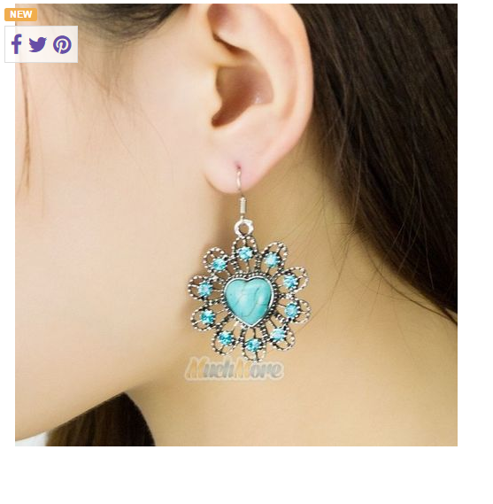 Heart inside Flower Enhanced Turquoise Dangle Earrings -  New Fashion Finds By Carole