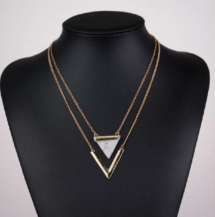 Double necklace in Black or White Simulated Marble -  New Fashion Finds By Carole