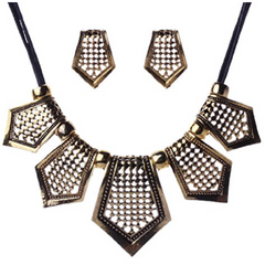 Antique Brass Tone Tribal Jewelry Shield Fringe Charm Pendant Chain Necklace -  New Fashion Finds By Carole