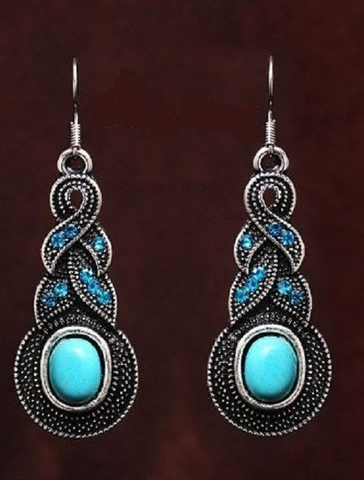 Vintage Style Turquoise Drop Earrings Tibetan -  New Fashion Finds By Carole