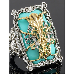 18K White & Yellow Gold Layered Turquoise & White Zircon Ring Size: 9 Tarnish Free -  New Fashion Finds By Carole