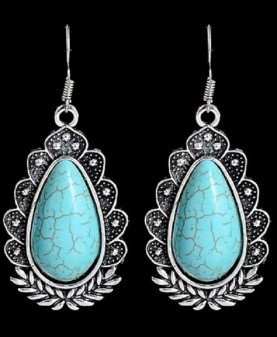 Trendy Bohemia Silver Turquoise Beads Beautiful Dangle Earrings -  New Fashion Finds By Carole