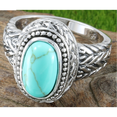 .925 Sterling Silver Blue Topaz Ring