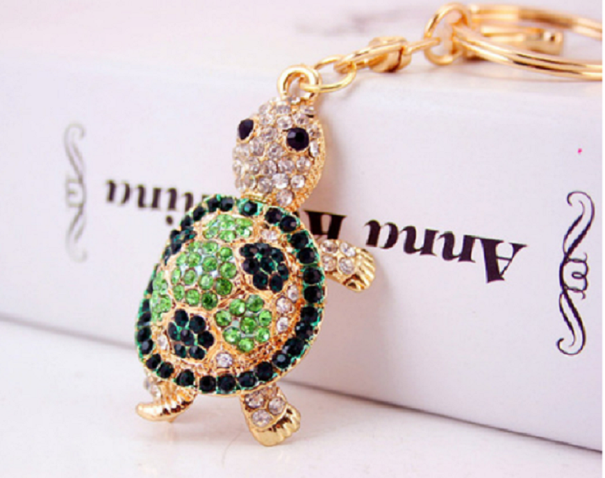 cute green crystal turtle keychain -  New Fashion Finds By Carole