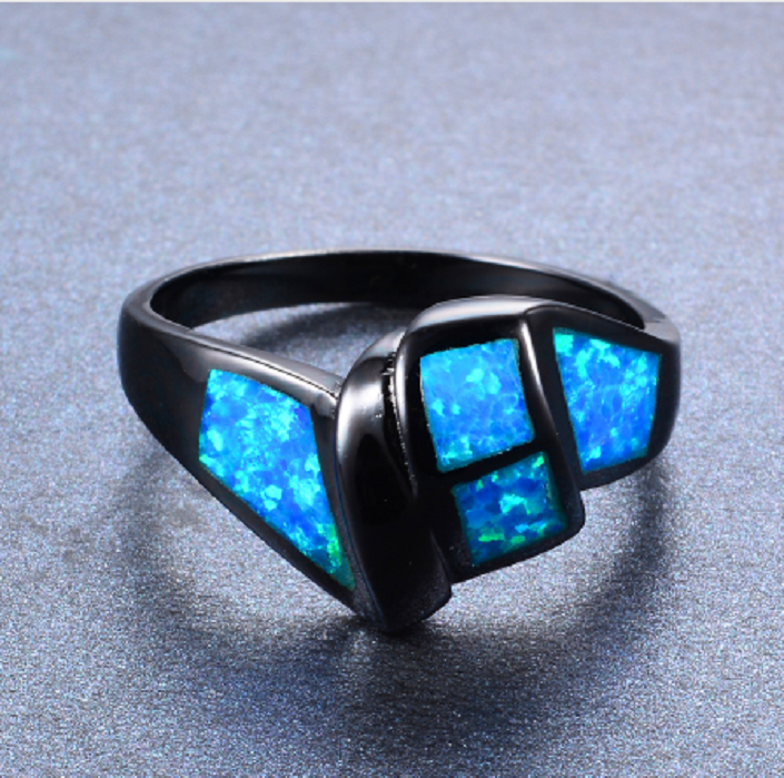 New Arrival Twist Ocean Blue Fire Opal Ring Black Gold Filled -  New Fashion Finds By Carole