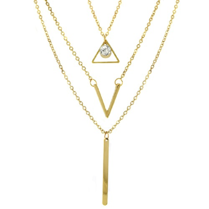 18KT Gold Plated Triangle V Bar Necklace -  New Fashion Finds By Carole