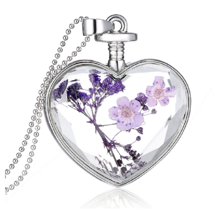 Charming White Gold Plated Purple Flower Crystal Necklace -  New Fashion Finds By Carole