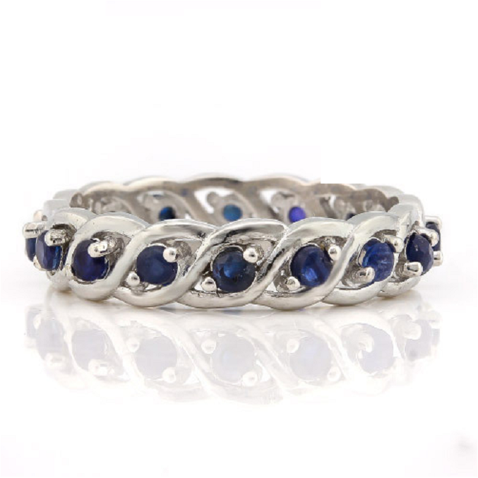 .925 Sterling Silver 18K White Gold Layered 0.73ctw Genuine Sapphire Ring -  New Fashion Finds By Carole