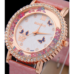 Beautiful butterfly watch, Pink band and purple butterflies bordered by rose gold. -  New Fashion Finds By Carole
