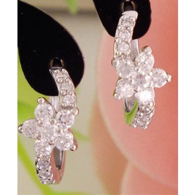Beautiful Crystal earrings in the shape of a flower on a vine. -  New Fashion Finds By Carole