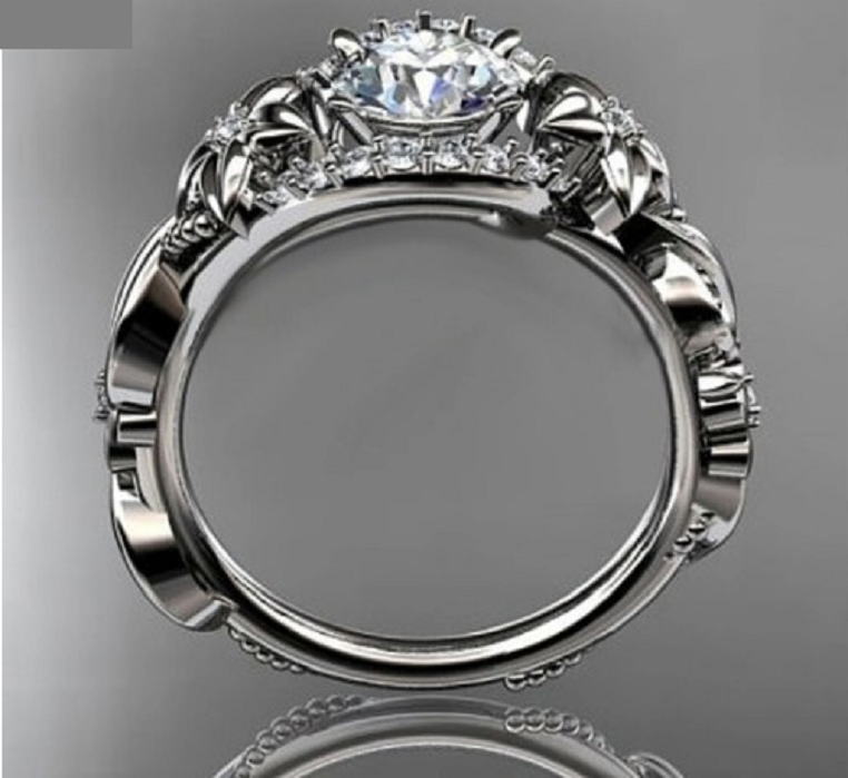 Gorgeous White Gold Plated cubic zirconia flower and vine wedding engagement ring. -  New Fashion Finds By Carole