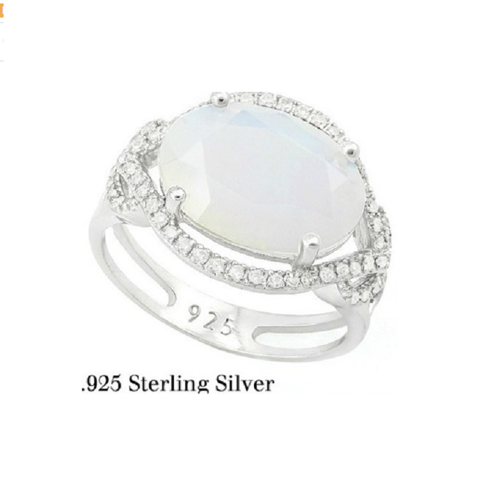 Solid .925 Sterling Silver 6.35ct Opal & White Sapphire Ring -  New Fashion Finds By Carole