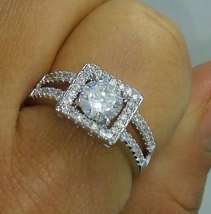 Stunning White CZ Engagement Ring -  New Fashion Finds By Carole