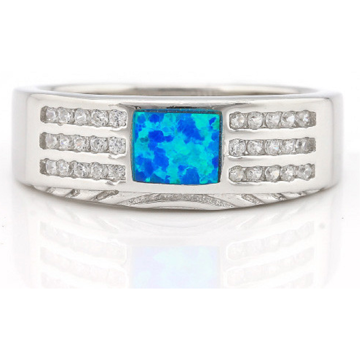 .925 Sterling Silver, Blue Opal & AAA Grade Australian Cz's Vintage Style Ring -  New Fashion Finds By Carole
