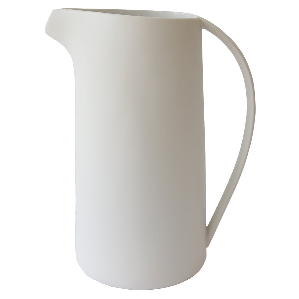 Curved Handle White Pitcher