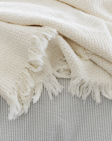 Basketweave Cotton Throw