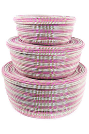 Pink Striped Baskets (Set of 3)