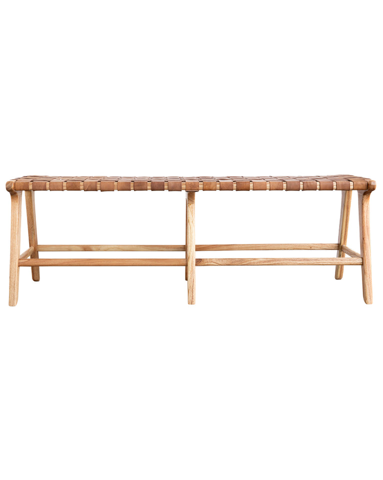 Alfie Woven Leather Bench
