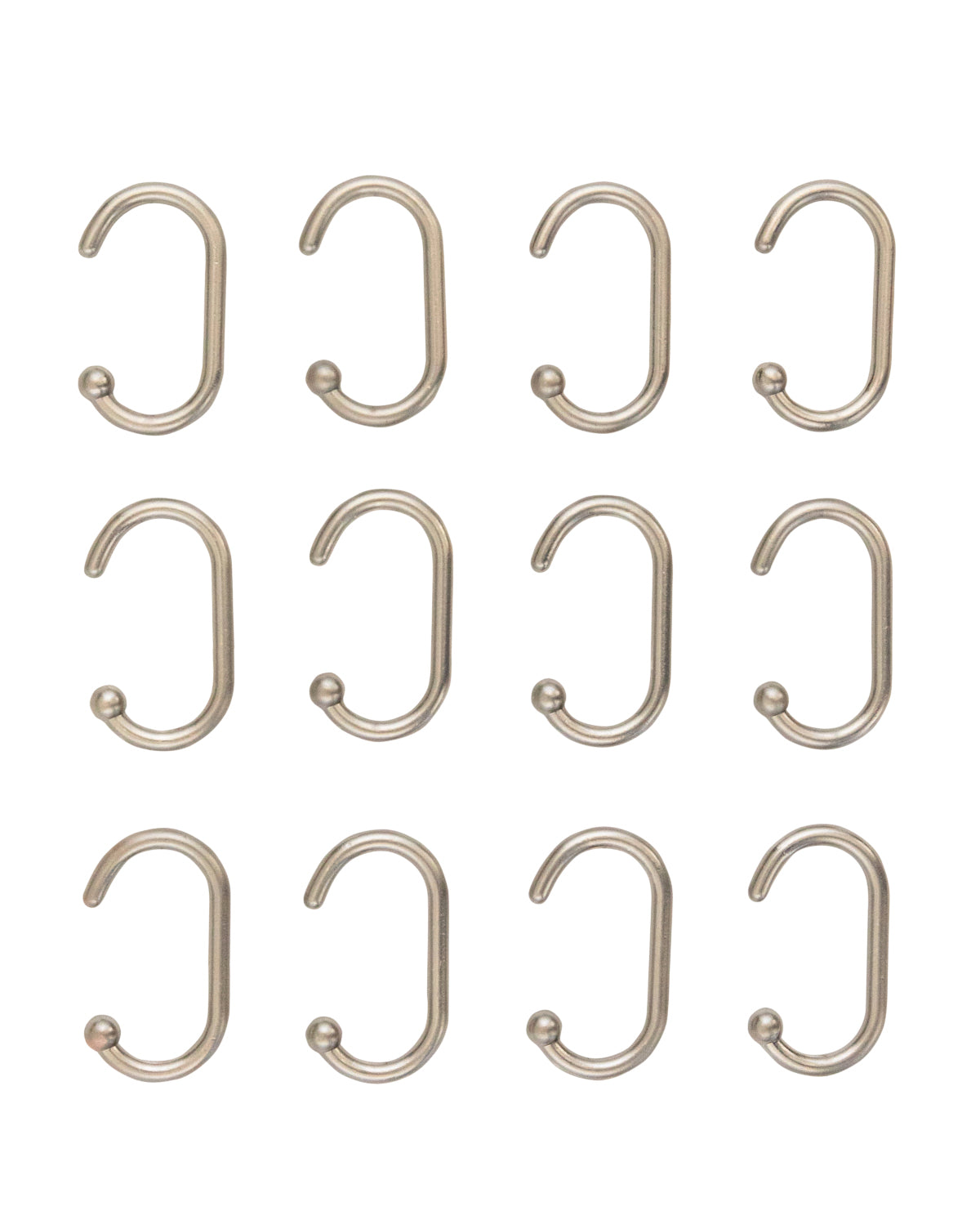 Aluminum Shower Hooks (Set of 12)