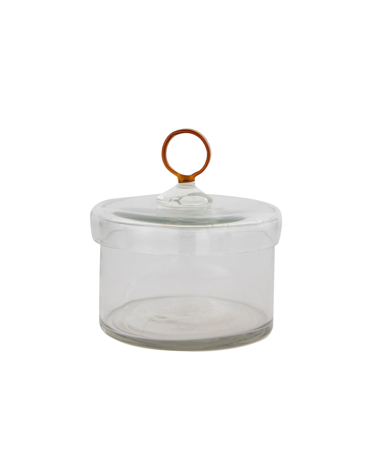 Amber Glass Handle Jar
