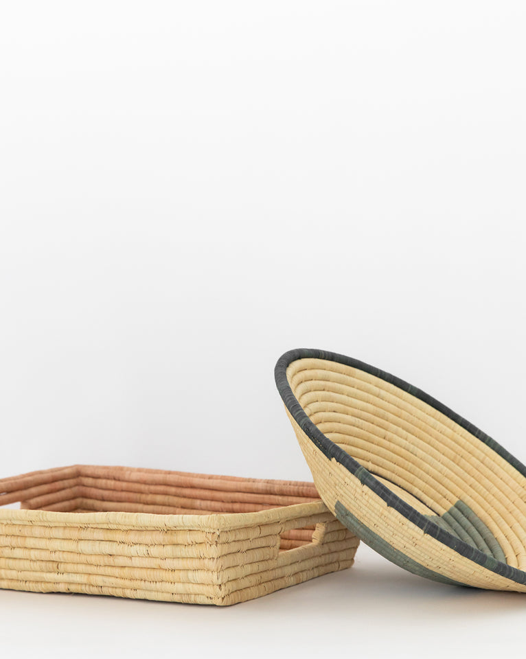Opal & Natural Raffia Bowl