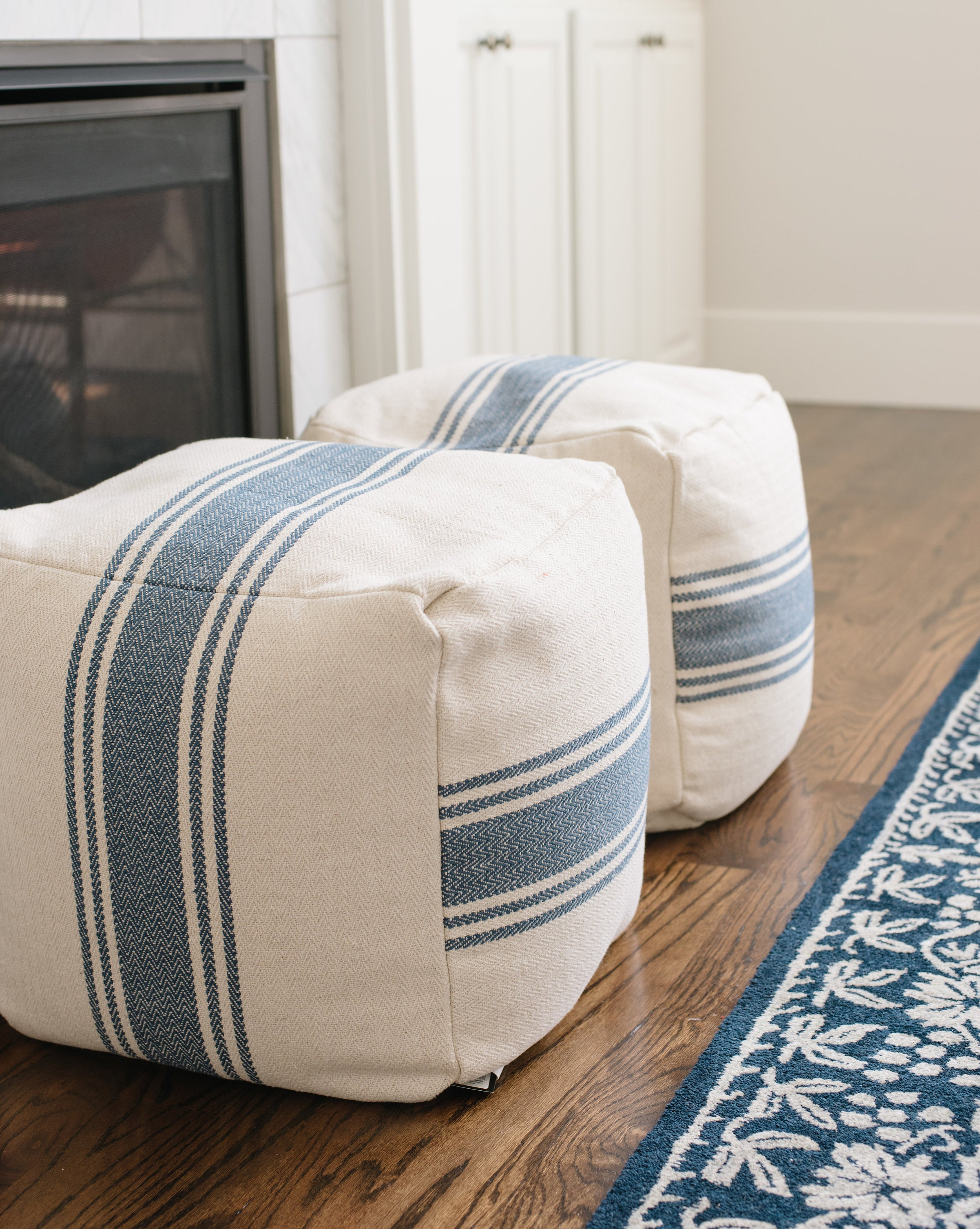 blue stripe pouf mcgee co. Black Bedroom Furniture Sets. Home Design Ideas