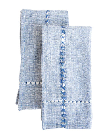 Blue Pulled Cotton Napkins (Set of 2)
