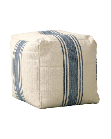 Blue Stripe Pouf