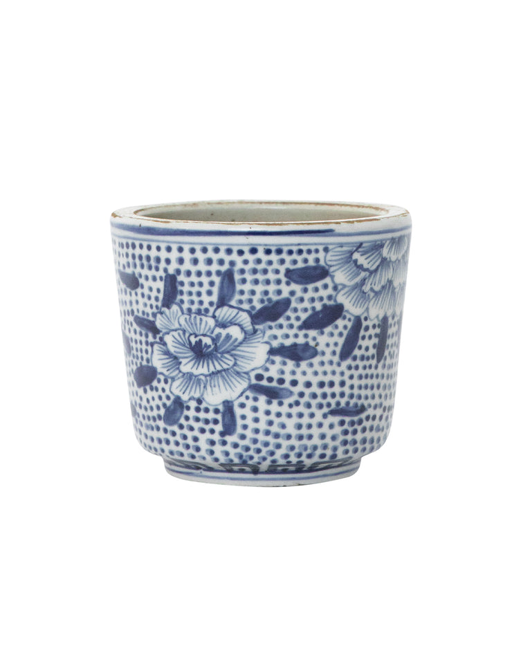 Blue & White Petal Jar