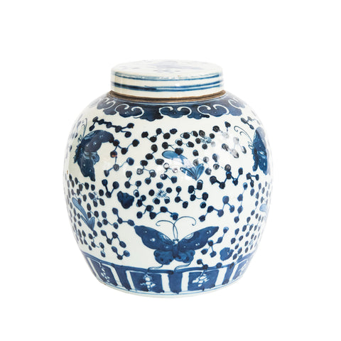 Butterfly Blue and White Jar