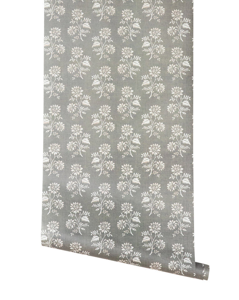 Camille Floral in Gray Wallpaper