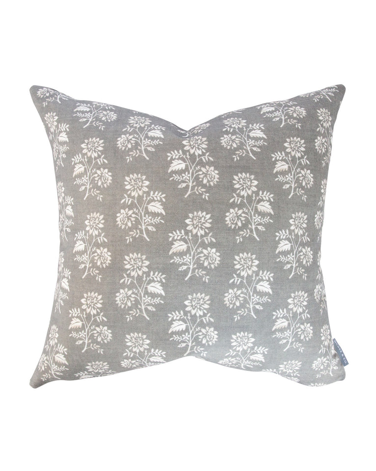 Camille Gray Floral Pillow Cover