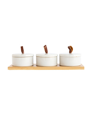 Canister Set with Bamboo Tray