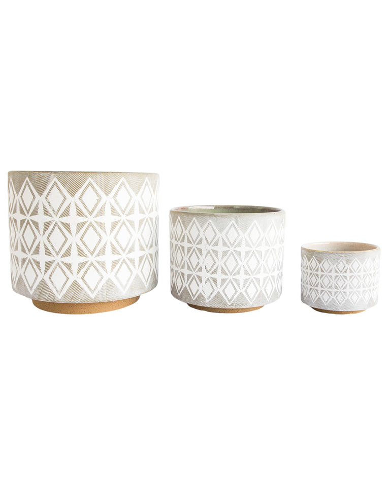 Diamond Patterned Pots
