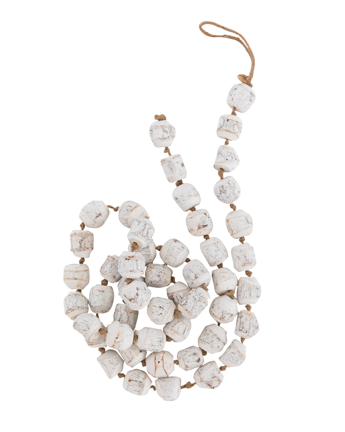 Distressed White Beaded Garland