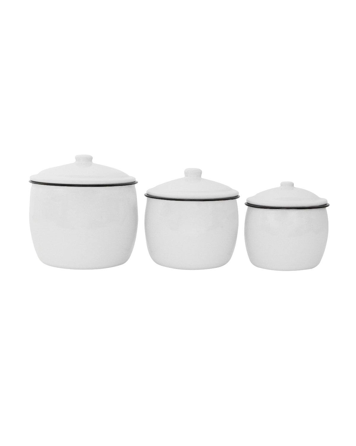 Enameled White Canisters (Set of 3)