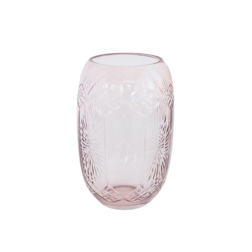 Etched Glass Vase in Reverie Pink