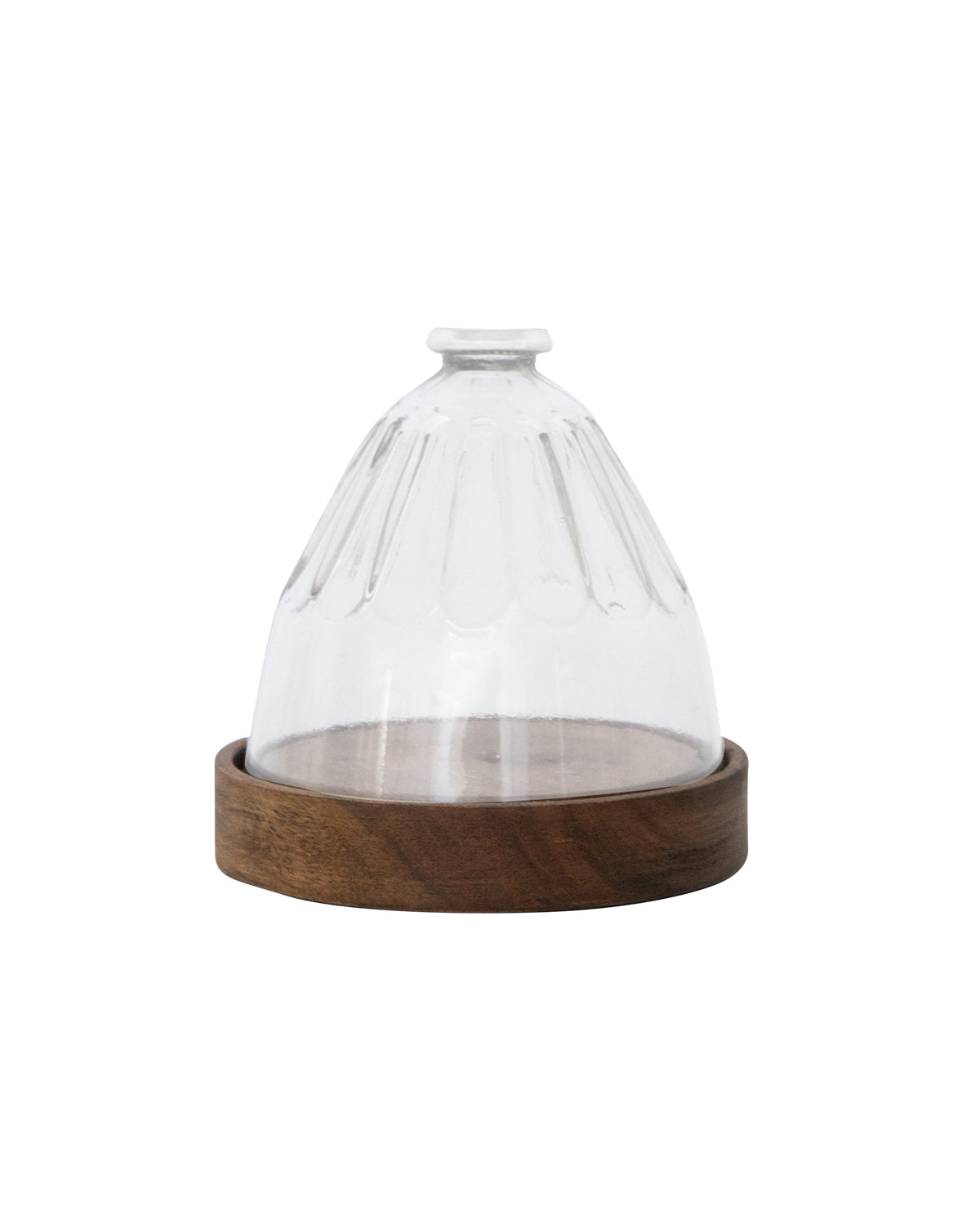 Faceted Wood & Glass Cloche