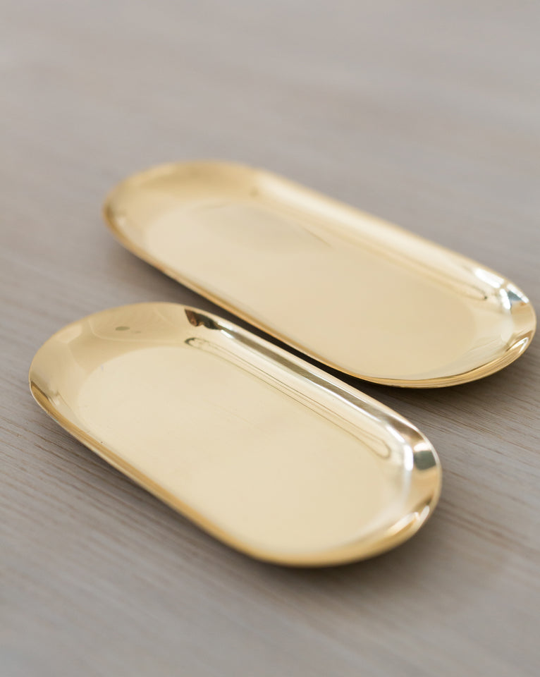 Glossy Brass Trays (Set of 2)