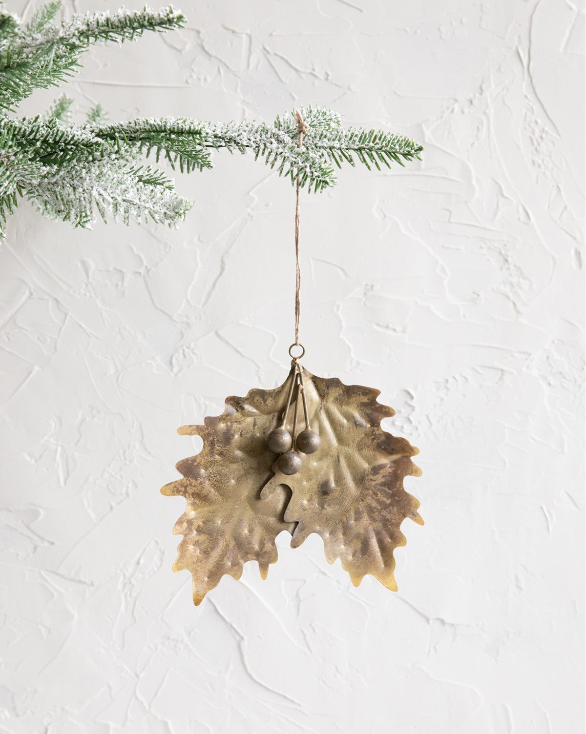 Gold Holly Ornament