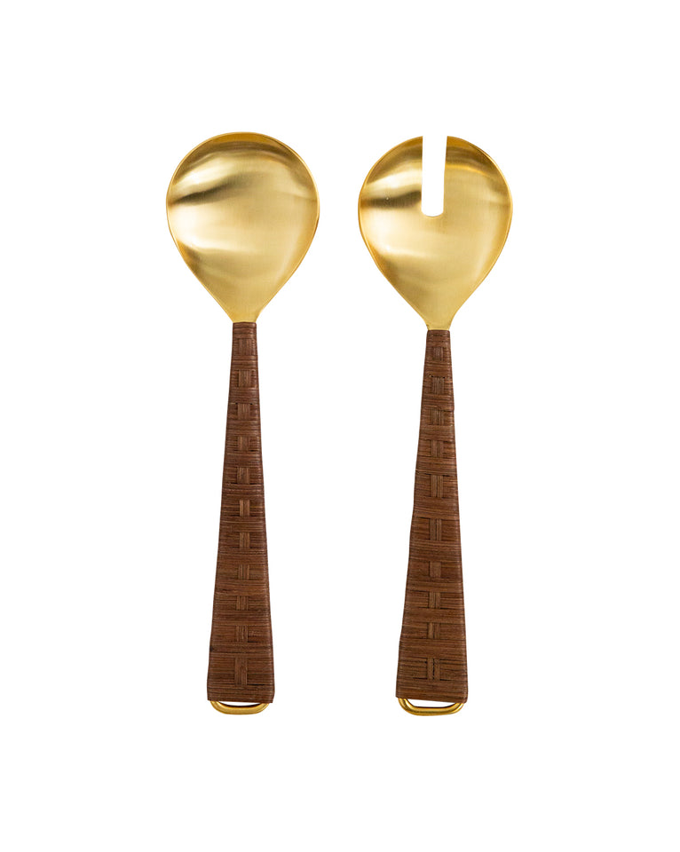 Gold & Rattan Server (Set of 2)