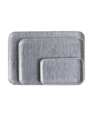 Gray Stripe Linen Tray