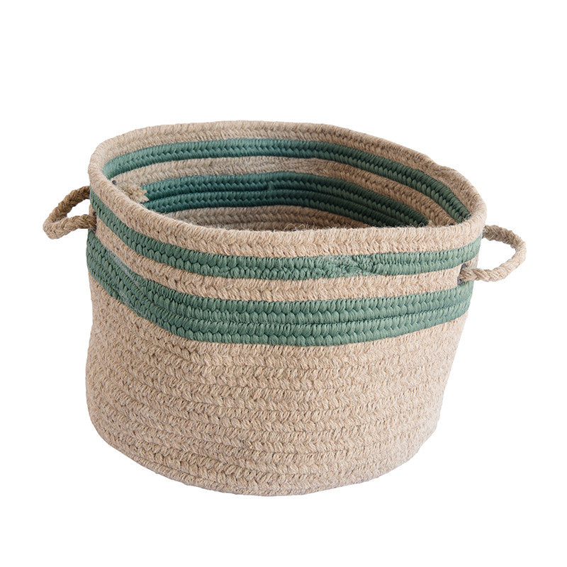 Green Striped Wool Basket