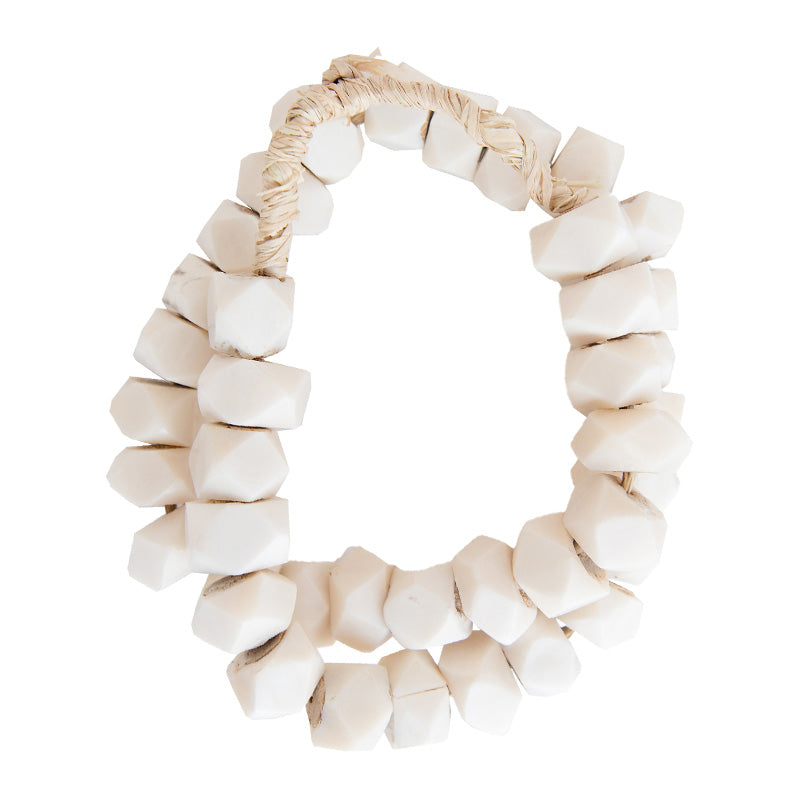 Hex White Bone Beads