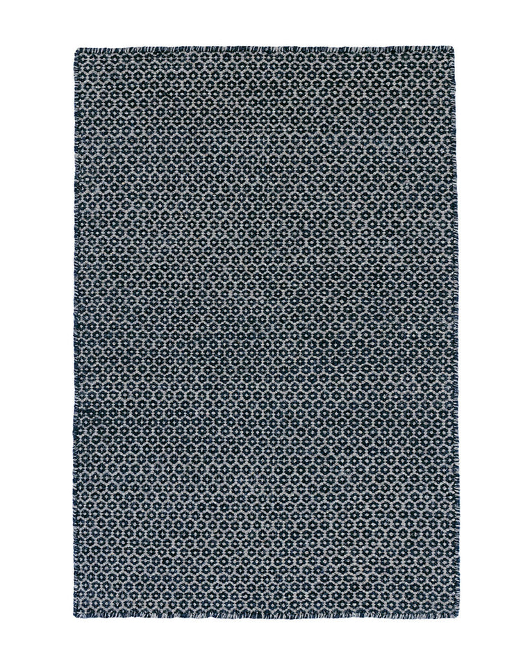 Honeycomb Indigo Wool Rug